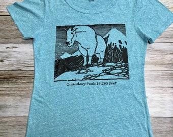 Women's Quandary Peak with Mountain Goat- Women's Short Sleeve Shirt- Women's T-shirt