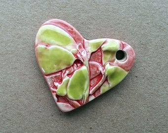 Ceramic Heart Pendant Pink and Green Textured and Hand Painted by  Mary Harding
