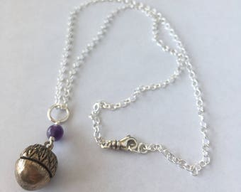 Seed of Hope Bronze Acorn Pendant with Amethyst and Sterling Silver Chain