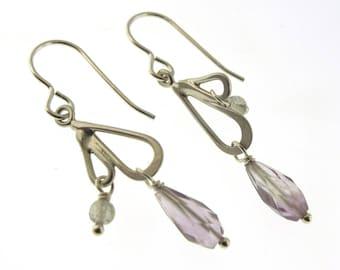 Amethyst Earrings, sterling silver earrings with amethyst and labradorite by Kathryn Riechert