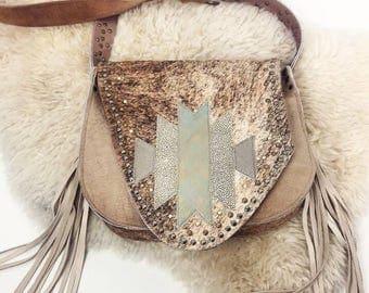 SALE Taupe Brindle Studded Bag