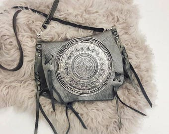 Silver Metal Crossbody Bag with Plate