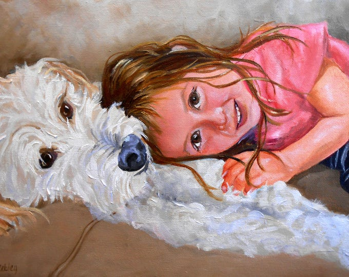 Custom Pet Portrait with Person, Dog Portrait, Portrait of Pet and Owner, Pet and Owner Painting, Dog Portrait with Human, My Dog and Me Art