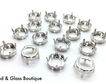 Swarovski Crystal Cushion Stone Setting, #4470, 10mm, Four Hole Sew Through, 4 pieces, Rhodium / Silver Tone