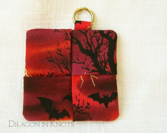Bats Earbud Case - Red and Black Halloween Guitar Pick Holder, Fabric Keychain Pocket