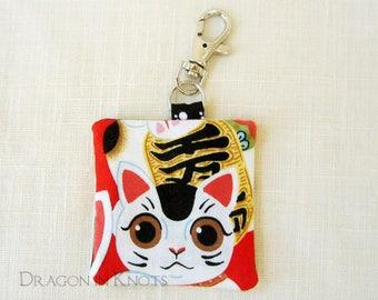Lucky Cat Earbud Case - Red White Black Guitar Pick Holder, Maneki Neko Fabric Keychain Pocket with Swivel Clip, Gift for Cat Lover