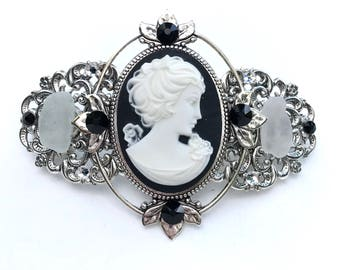 Cameo Hair Barrette Black and White Profile with Beach Glass and Crystal Accents