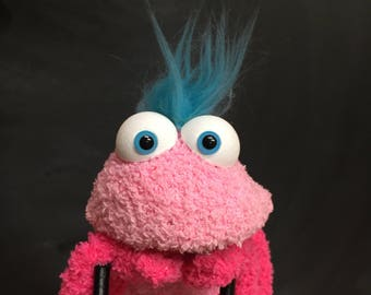 Sock Puppet Creature, Hand and Rod Puppet, Pink Puppet, Teal Hair, Arm Rods, Lots of Personality