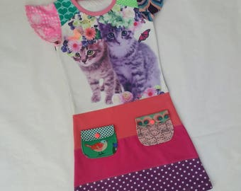 Size 7 upcycled girls kittens, dress, girls clothing, children's clothing,kidsclothes, kidswear, girls, flowers, upcycling, cute, dress