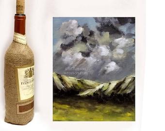 Thunderstorm, Weather, Rain, Original Painting, Landscape Painting, Mountain, Storm, Winter, Home Decor, Wall Art,  Cloud Painting, Winjimir