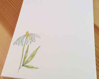 Prairie Coneflower Notepad - Small Watercolor Daisy Notepad - 4 x 5 Handmade Floral Notepad - Gardener Gift - 40 Sheet Notepad