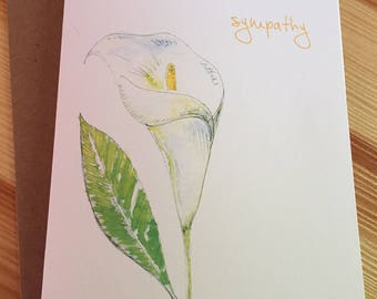 Calla Lily Sympathy Card - Floral Sympathy Card - Calla Lily Condolences Card - Watercolor Calla Lily Card