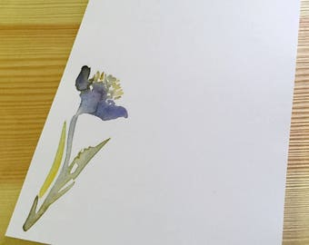 Floral Notepad Stationery - Watercolor Flower Notepad - Personalized or Blank Handmade Blue Iris Notepad - 40 Sheet Notepad