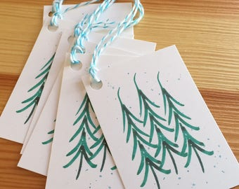 Winter Holiday Trees Gift Tags  - Watercolor Christmas Pine Trees -  Christmas Present Gift Tags - Tree and Snow Gift Tags - Set of 6