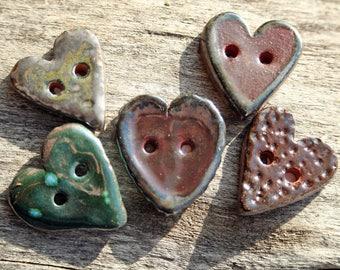 Handmade Ceramic Hearts Set of 5