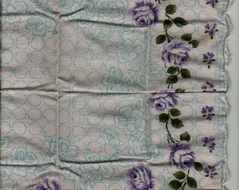 Purple and White Rose Handkerchief with Scalloped Border - Vintage Linens