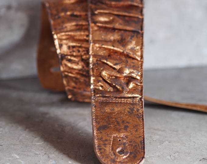 Pleated Penny Copper and Brown Leather Guitar Strap