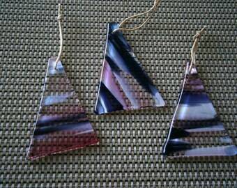 SALE Fused Glass Christmas Tree Ornaments, 3 Pink Purple Streak, Glass Ornaments, Glass Trees, Willow Glass