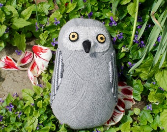 Gray Snowy Owl Soft reclaimed wool pillow doll softie
