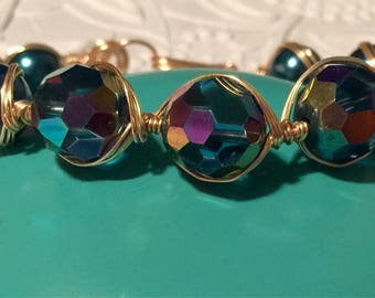 Handcrafted Beaded Gold Wire Wrapped Bracelet