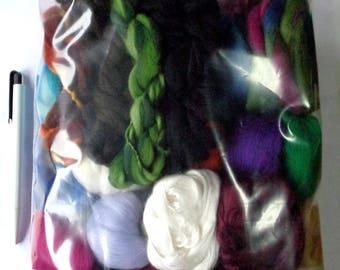 6.4oz Fiber project bag, wool roving, silk roving, spinning fiber, felting fiber, dolls hair, merino wool roving, colour mix, fiber mix,180g