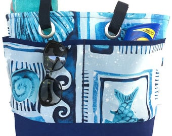 Beach theme Beach bag, Navy Blue Beach tote, Large Pool Bag, Family Sized beach tote, Vacation tote bag, Spring Break bag, Beach Accessories
