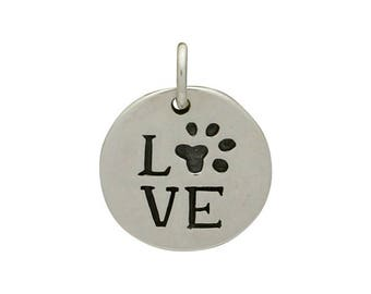 Love Paw charm. Sterling silver love disc with paw print. Pet charm. Dog lover. Cat person.