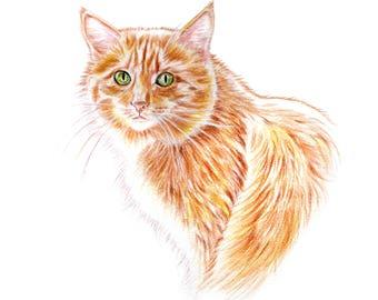 Custom Cat Portrait, Original Watercolor Cat Painting from your photo