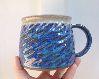 Mug ceramic coffee tea blue white handmade large big