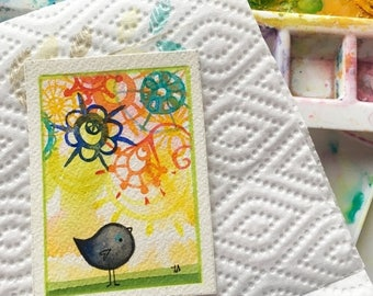 ON SALE In a Round About Way original ACEO art painting