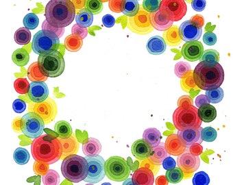 Rainbow Wreath Print high quality giclee art floral heart Lauren Ingraham
