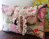 Bow & Bird Purse, Clutch Bag, Water Lily, Floral Bag, Hand Sewn, Patchwork, Pouch, Boho Purse, Clutch, Rustic, Bluebird