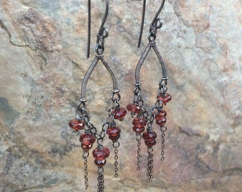 GARNET Earrings, RED Garnet chandelier earrings, gemstone dangle earrings, red gemstone jewelry, January birthstone AngryHairJewelry, tassel