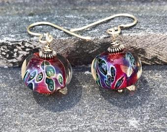 Lampwork Earrings, Glass Earrings, Sterling Silver Earrings, Dangle Earrings, Bright Pink and Peacock Spots