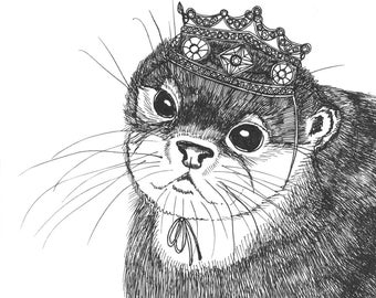 Baby Otter in a Glittering Crown ORIGINAL ink drawing on paper 5 x 5
