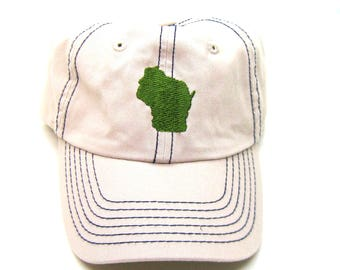 Clearance - Sale - Gift - Gracie Designs Hat - Forest Green on Khaki Wisconsin Dad Hat
