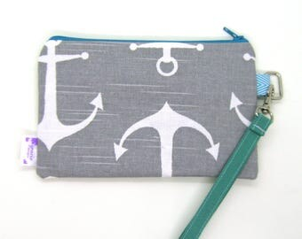 Clearance - Sale - Gift - Gracie Designs Wristlet - gray anchor