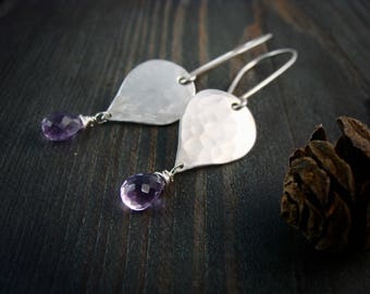 purple rain... hammered sterling and amethyst dangles