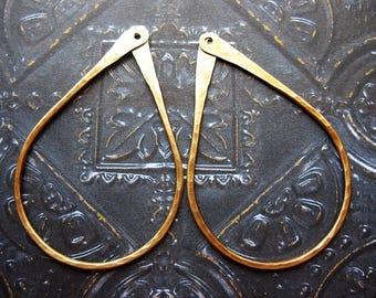 Hammered Antiqued Brass Teardrop Open Hoop Findings - 1 pair - 45mm in length