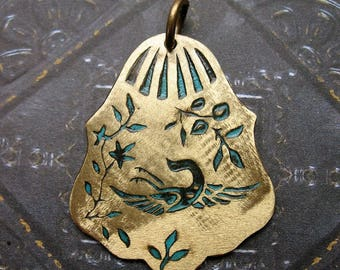 Vintage Brass Floral and Bird Pendant in Brushed Blue Patina - 1.5 inches in length