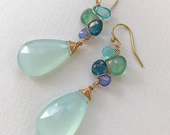 St. Tropez Woven Earrings with Kyanite, Apatite, Tanzanite, and Chrysoprase