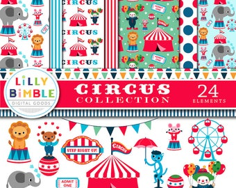 CIRCUS digital paper and clipart, 40% off 24 elements, tent, big top, ferris wheel, lion, birthday party illustrations, elepha
