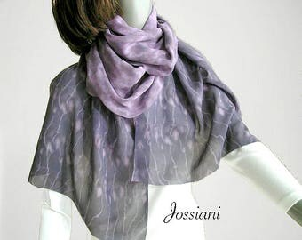 Tie Dye Long Silk Scarf Hand Dyed Shibori Chiffon, Muted Lavender Pink Mauve Gray Charcoal, One of a Kind Artisan Wrap, Handmade, Jossiani