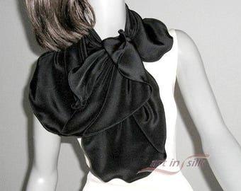 Black Silk Scarf, Natural Crepe Silk, Black Silk Wrap, Shoulder Scarf, Black Crepe Scarf, Artisan Handmade, Artinsilk Ready to Ship