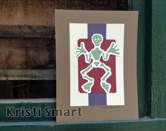 Dios de los Muertos Day of the dead skelly silk screen collage