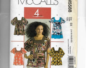 McCall's  Misses' Tops and Tunic Pattern 5588