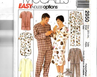 McCall's  Misses', Men's and Teen Boys Sleepwear, Hat and Booties Pattern 2950