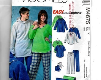 McCall's Misses' , Men's and Teen Boys' Tops, Pants, Socks and Blanket Pattern 4675