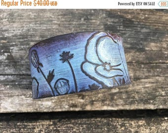 CRAZY SALE- Embossed Leather Cuff-Create Your Own-Hand Painted Floral Leather-Word Cuff-Poppies