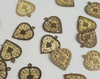 Vintage brass heart charms